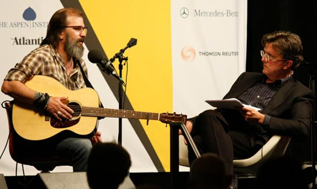 Steve Earle and Kurt Andersen at the Aspen Ideas Festival in 2008