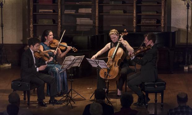 Danbi Um, Paul Huang, Peter Wiley, Shira Majoni perform in an Evnin Rising Star concert.