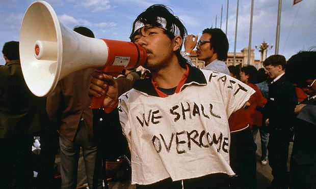 A Chinese student at the 1989 Tiananmen Square protests, where speakers playing Beethoven were set up to drown out government broadcasts