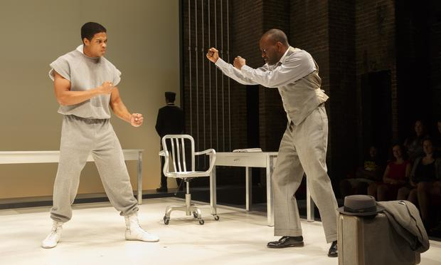 Ray Fisher and K. Todd Freeman onstage in 'Fetch Clay, Make Man'