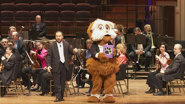Fiddlesticks, the Pittsburgh Symphony's mascot with conductor Lawrence Loh