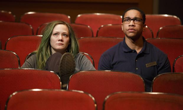 Louisa Krause and Aaron Clifton Moten in 'The Flick' at Playwrights Horizons.