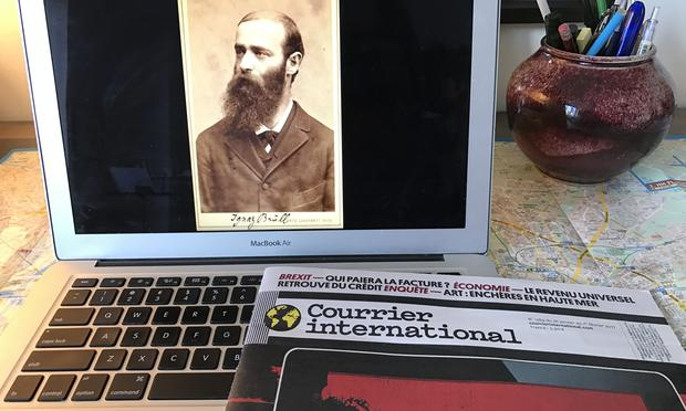 A photo of Ignaz Brüll and a French newspaper from Corinna da Fonseca-Wollheim's yellow cab ride.
