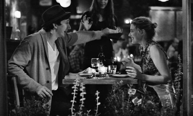Greta Gerwig with Adam Driver having dinner in 'Frances Ha.'