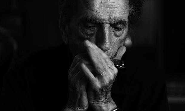 Harry Dean Stanton showcases his musical chops in 'Harry Dean Stanton: Partly Fiction.'