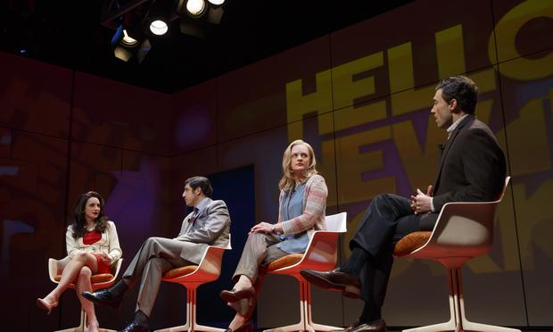 Tracee Chimo, Jason Biggs, Elisabeth Moss and Bryce Pinkham in 'The Heidi Chronicles' at the Music Box Theatre.
