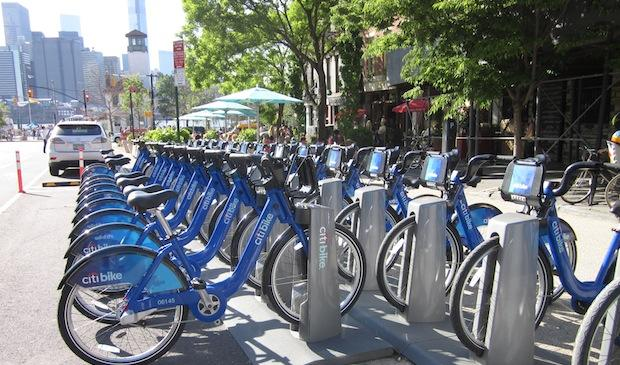 A bike share docking station location near Bargemusic in Dumbo, Brooklyn