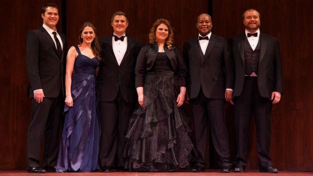 L-R Brandon Cedel, Sydney Mancasola, Michael Brandenburg, Rebecca Pedersen, Musa Ngqungwana, Thomas Richards
