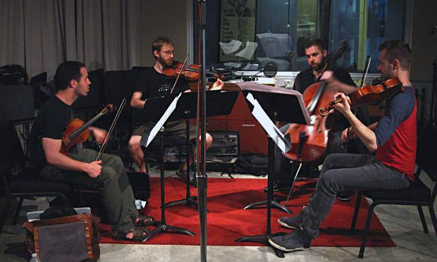 JACK Quartet recording 'The Wind in High Places' in the Q2 Music studios