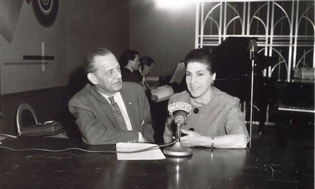 Licia Albanese with WNYC Music Director Herman Neuman in the studio in 1961