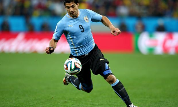 Luis Suarez of Uruguay during the 2014 FIFA World Cup Brazil match against England at Arena de Sao Paulo on June 19, 2014 in Sao Paulo, Brazil.