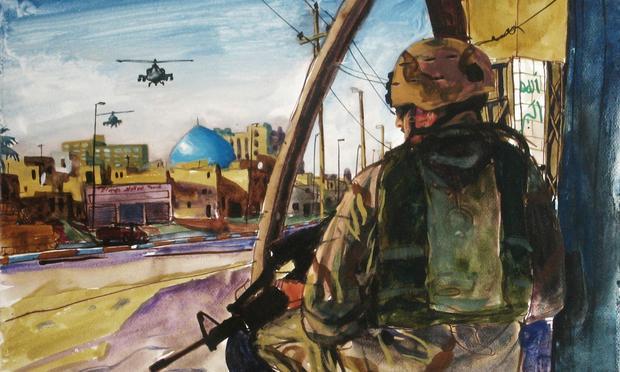 Steve Mumford, Untitled. Arkansas National Guardsman Jerry Holland on foot patrol on Haifa Street, Baghdad, Iraq. November 2004.