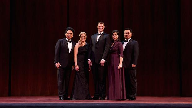 Metropolitan Opera National Council Audition Winners: L-R: tenor Yi Li, soprano Julie Adams, bass Patrick Guetti, soprano Amanda Woodbury, and bass-baritone Ao Li
