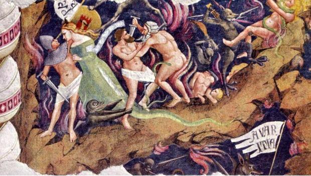 Orcagna, Triumph of Death, Santa Croce, Florence, detail