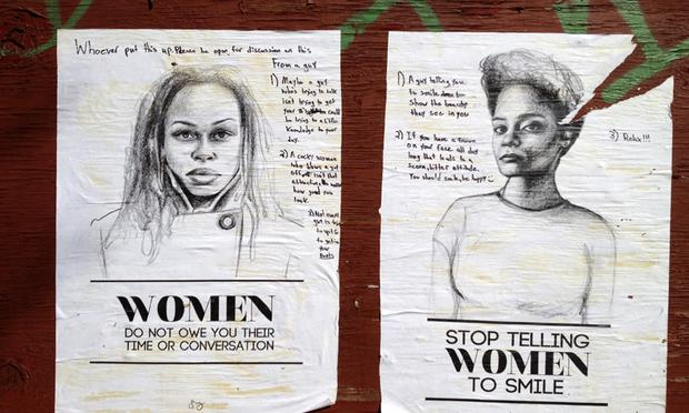 Tatyana Fazlalizadeh's original posters on Tompkins Ave. in Bedford-Stuyvesant, Brooklyn.