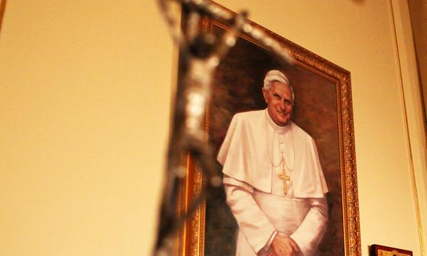 Portrait of Pope Benedict XIV at St. Patrick's Cathedral in New York.