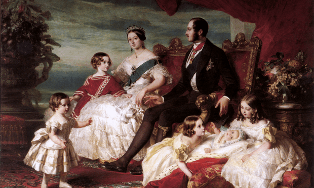 Portrait of Queen Victoria, Prince Albert, and their children.