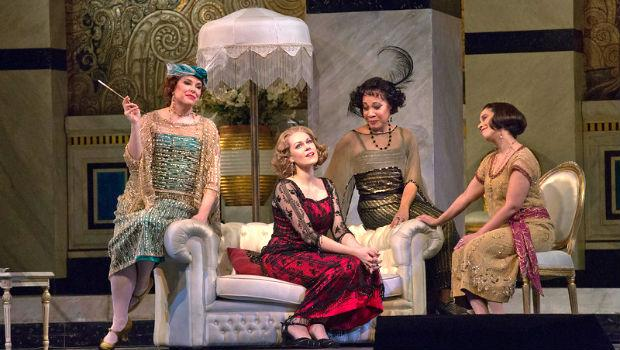 Kristine Opolais (center) as Magda with Margaret Thompson, Janinah Burnett and Monica Yunus in Puccini's 'La Rondine'