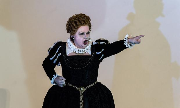 Susan Bullock as Queen Elizabeth I in Gloriana
