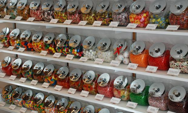 Shelves of candy jars