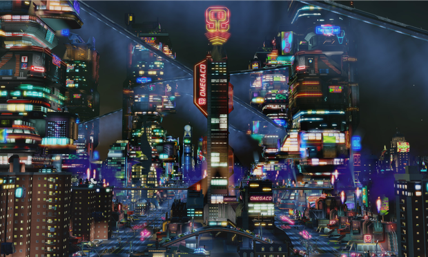 A still from SimCity: Cities of Tomorrow featuring OmegaCorp, a dystopic megacorporation in the game.