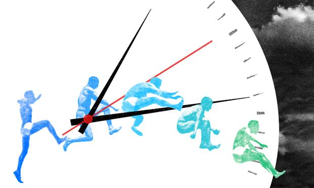 Illustration of person jumping over the hands of stopwatch