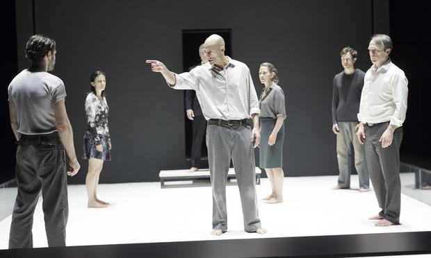 Mark Strong (center) and company in a scene from Arthur Miller's 'A View From the Bridge' at the Lyceum Theatre.