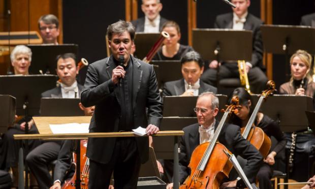 Alan Gilbert speaks before New York Philharmonic concert dedicated to victims of terrorist attacks.