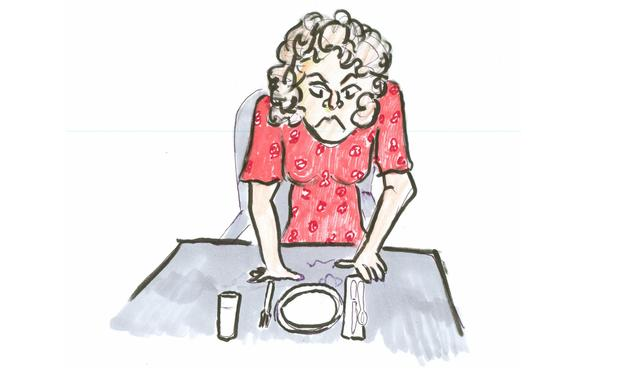 Illustration of an angry mom at the dinner table