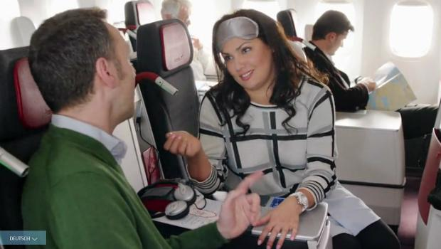 Anna Netrebko appears in an Austrian Airlines commercial