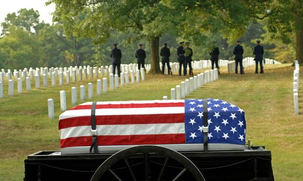 A caisson awaits burial in Arlington Cemetery