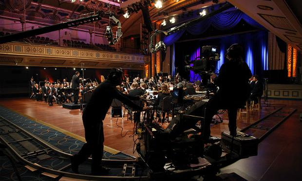 The 'All-Star Orchestra' recording session at New York City's Manhattan Center