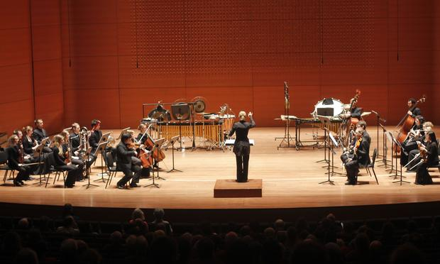 Conductor Susanna Mälkki with Juilliard's ensemble, AXIOM, and members of the Sibelius Academy