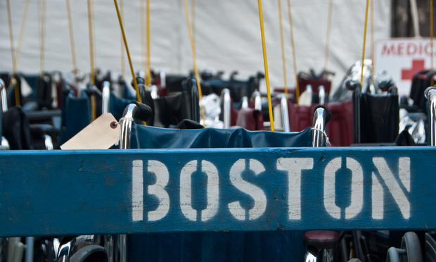 Scores of wheelchairs on hand remain unused hours after the explosions at the finish line of the Boston Marathon.