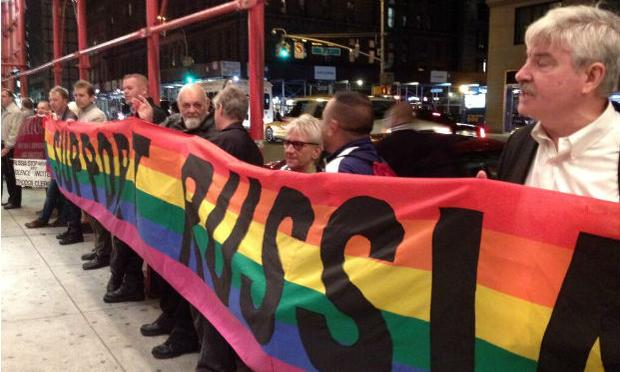 Gay rights activists protest Valery Gergiev at Carnegie Hall on Thursday night