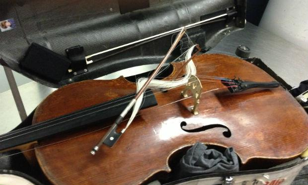 Alban Gerhardt's damaged cello bow in its case