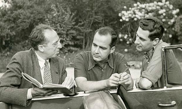 Aaron Copland with Samuel Barber and Gian-Carlo Menotti in Bernardsville, NJ, 1945