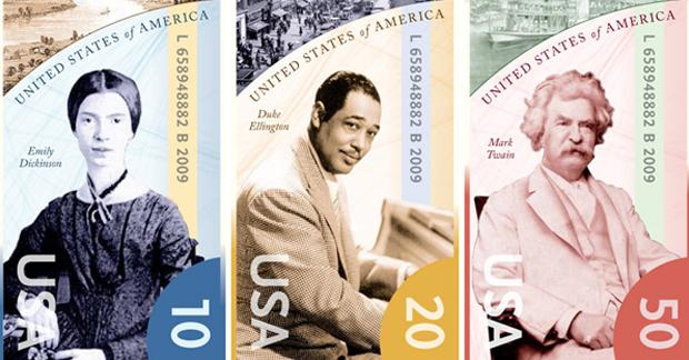 Detail of a new design for the $10, $20, and $50 bills featuring Emily Dickinson, Duke Ellington, and Mark Twain (Dean Potter/Dollar Redesign Project)