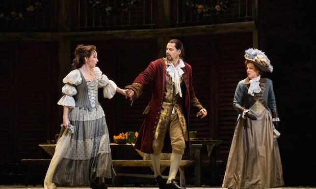 Kate Lindsey as Zerlina, Peter Mattei in the title role, and Emma Bell as Donna Elvira in Mozart's 'Don Giovanni.'