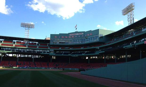 Boston's Fenway Park, as seen from the base of the famed Green Monster.