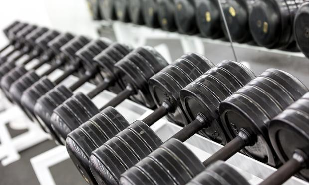 Dumbells in a fitness club.