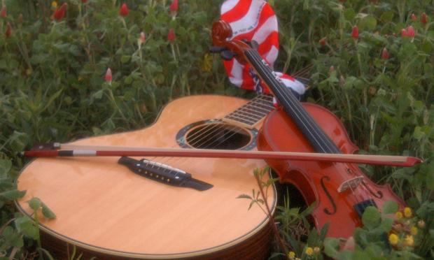 Acoustic Guitar Violin and American Flag