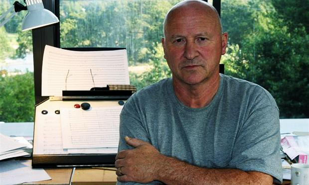 Gavin Bryars in his studio in Metchosin, Canada