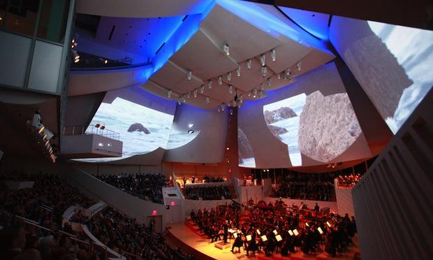 The New World Symphony performing the world premiere of 'Polaris' at the New World Center in Miami
