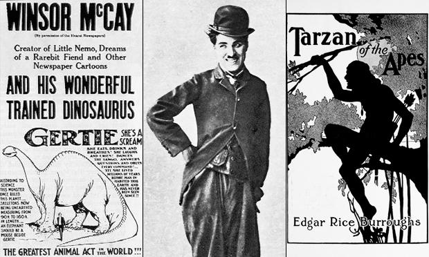 (Left to right) A newspaper ad for Winsor McCay's film Gertie the Dinosaur, Charlie Chaplin as the Tramp, cover for a 1914 edition of Edgar Rice Burroughs Tarzan of the Apes