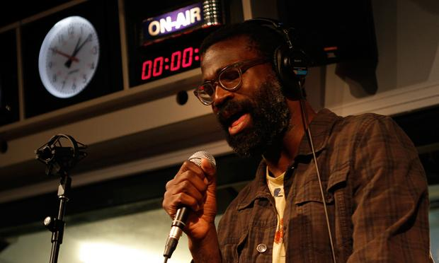Tunde Adebimpe performs with Higgins Waterproof Black Magic Band in the Soundcheck studio.