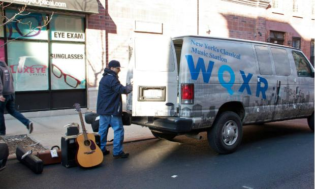 Jose Castillo of New York Public Radio picks up the instrument drive donations