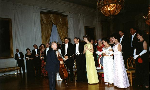 John F. and Jacqueline Kennedy greeting Pablo Casals after his 1961 performance at the White House