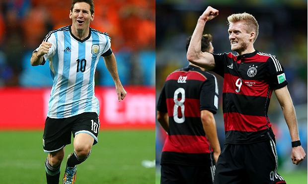 Lionel Messi of Argentina and Andre Schuerrle of Germany face off in the World Cup Finals on Sunday