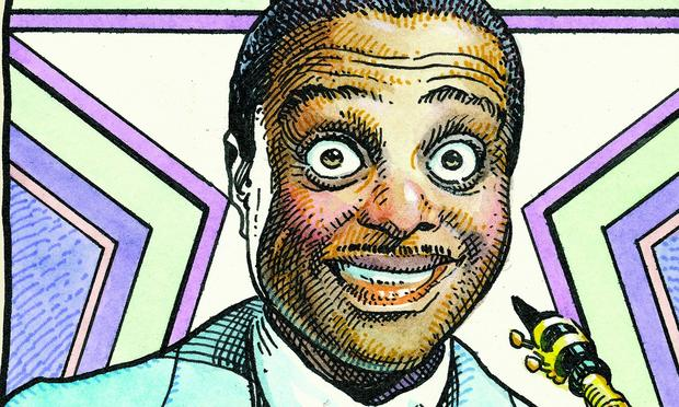 Louis Jordan, as depicted by William Stout in 'Legends of the Blues'